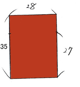 巾着の製図。「27」という数字は縫い止まりまで長さです