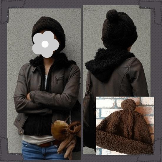 こげ茶色のプードルファーで作ってみました。関係ないけれど、このフェイクレザーの皮ジャケット後ろヨーク部分が割けていた・・・パーカーなしでは着られない・・・