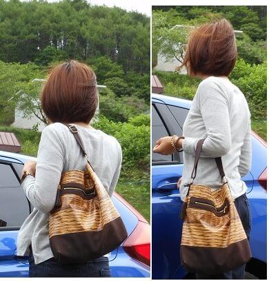トリックバスケット柄×革のバッグを作りました。肩にかけたり、下して持ったり。