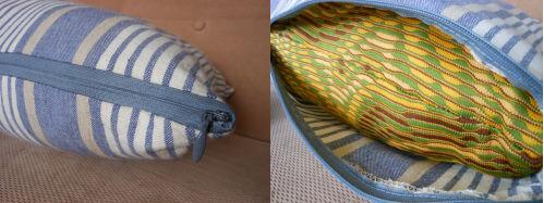 左)ファスナーで開閉できるようにした 右)中の綿はあまり布を使ってカバーを作って縫いくるんであります