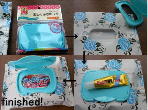 フタの取り出し口の形に布を切ったら、ボンドを付けたフタをくっつけます。完全に乾いたら出来上がり。
