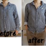 【ソーイング大人服】シャツやブラウスの身幅詰めと丈を短くしてリメイクする方法